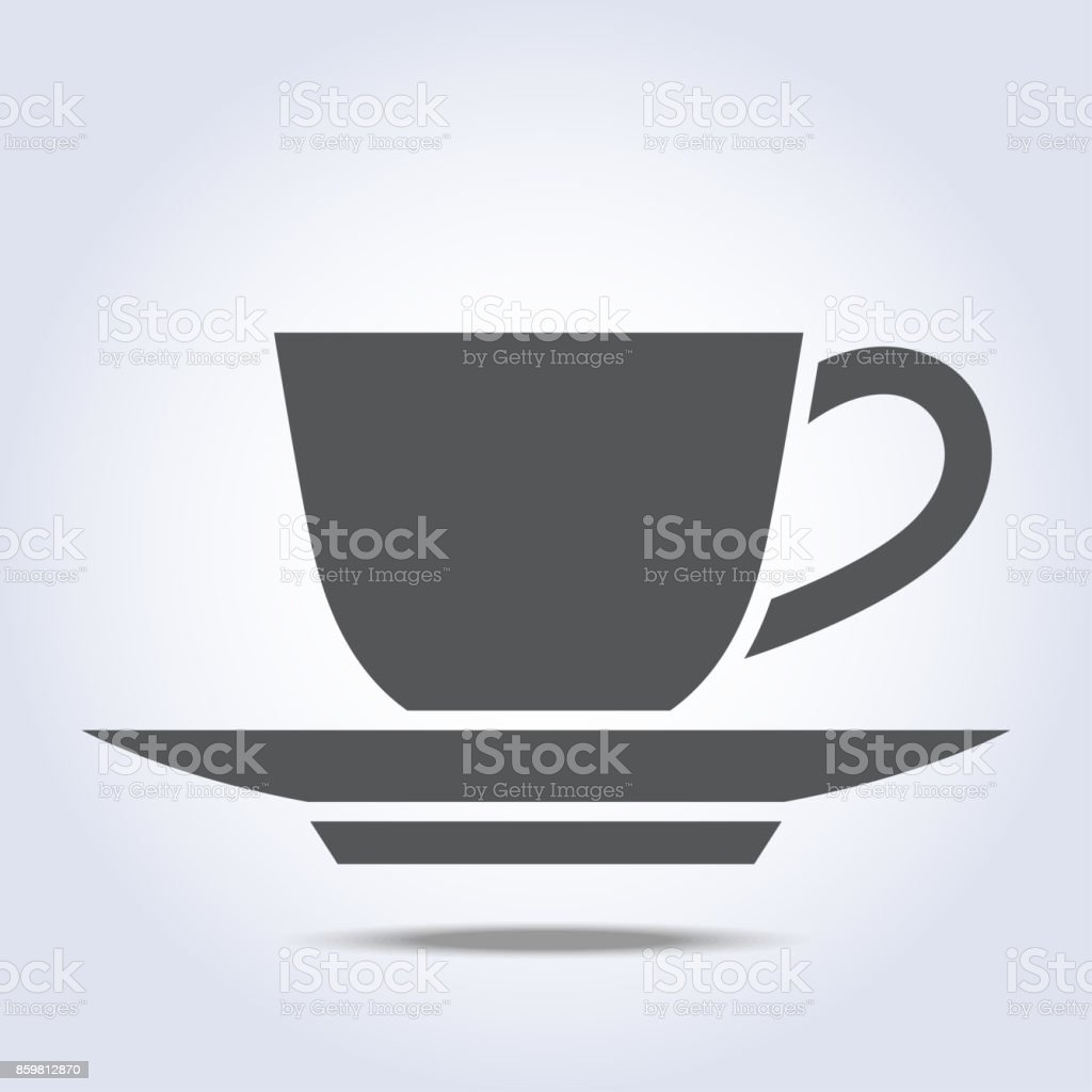 Coffee cup and plate icon vector art illustration