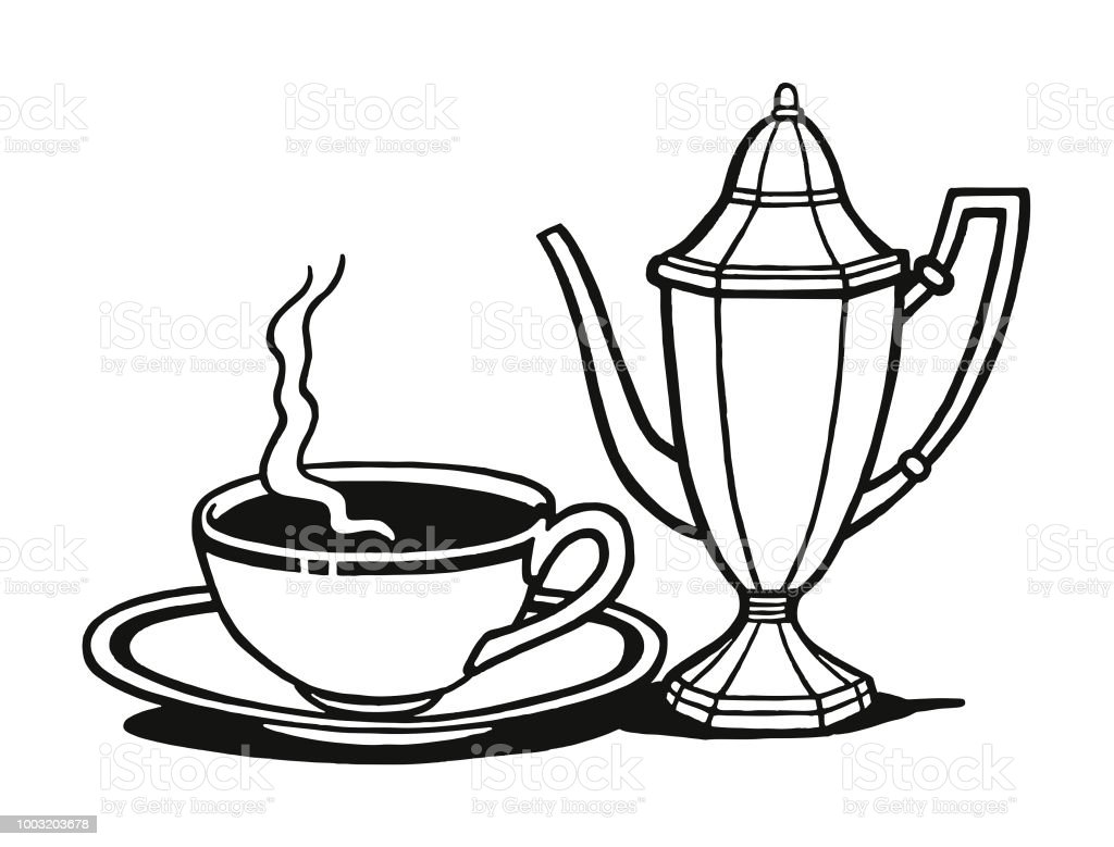 Coffee Cup And Saucer And Coffee Pot Stock Illustration Download Image Now Istock