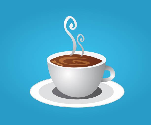 ilustrações de stock, clip art, desenhos animados e ícones de coffee cup and smoke - pausa para café