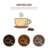 Cup of coffee with steam. Coffee cup and Tea cup liner icon.