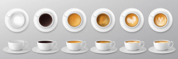 coffee cup assortment collection. Vector illustration vector art illustration