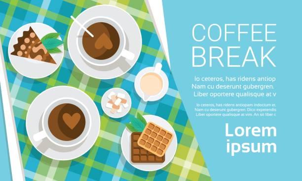 ilustrações de stock, clip art, desenhos animados e ícones de coffee cup break breakfast drink beverage top view - pausa para café