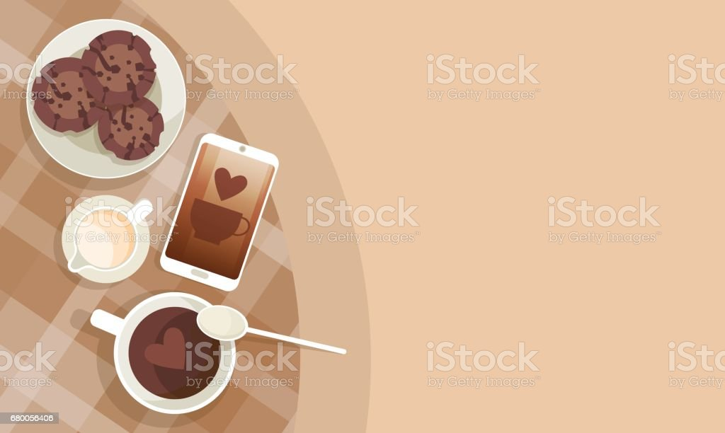 Coffee Cup Break Breakfast Drink Beverage Top View vector art illustration