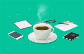 istock Coffee cup break on working desk business table isometric vector cartoon illustration, breakfast idea on work time, beverage mug concept 1277791162