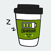 Coffee cup charging cartoon vector illustration doodle style