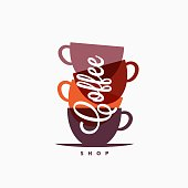 Coffee cup . Coffee mugs color banner on white background 10 eps
