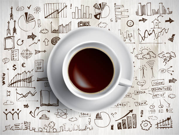 Coffee cup concept - business doodle with coffe mug Coffee cup concept, sketch of business infographics coffee break stock illustrations