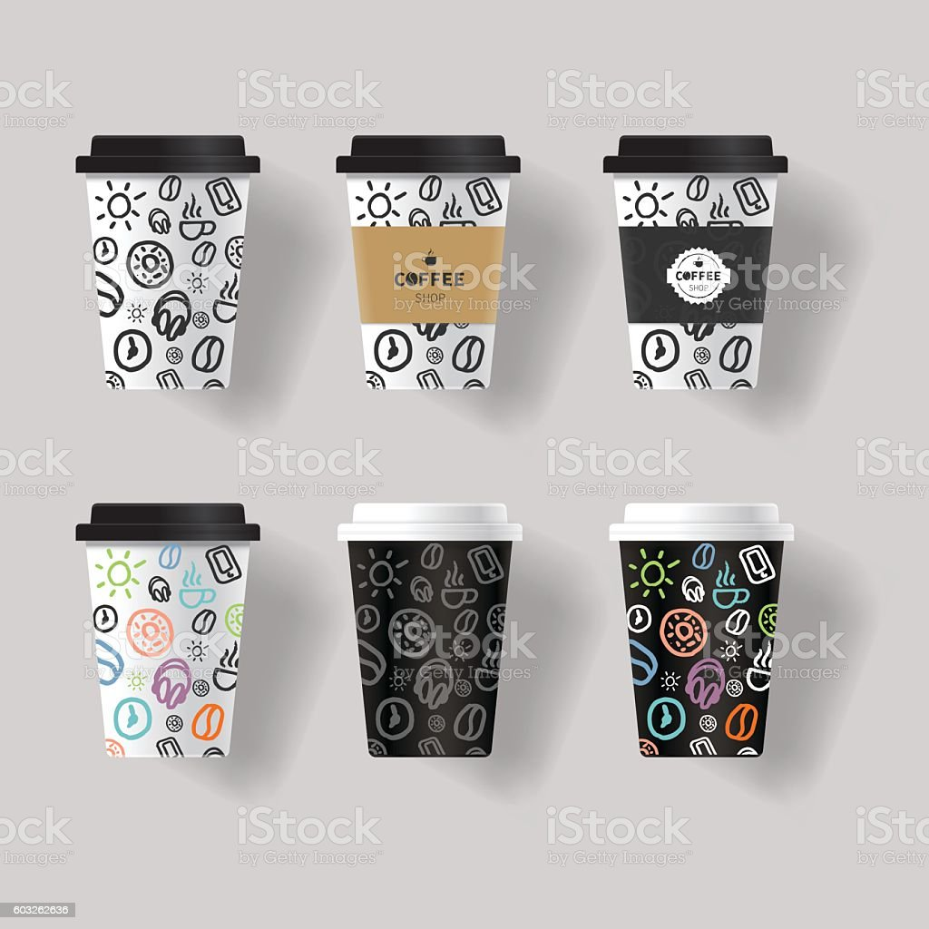 Coffee cup design template mock up coffee cup design template mock up cliparts vectoriels et