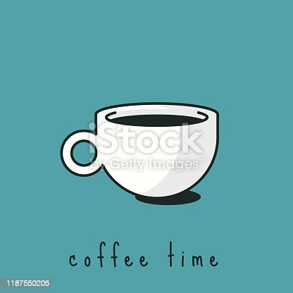 Vector illustration of a coffee cup or mug icon. Design element great for social media, online messaging, mobile apps, healthy eating and lifestyles, business and technology, presentations, food and drink ideas and concepts and a wide variety of design projects.