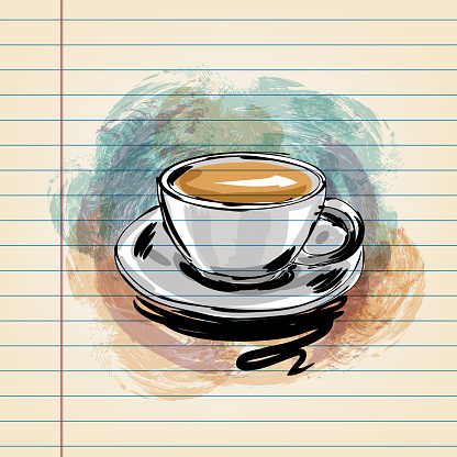 Coffee Cup Drawing on Ruled Paper