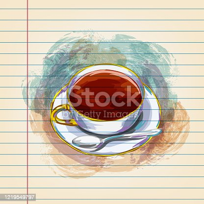 istock Coffee Cup Drawing on Ruled Paper 1219549797