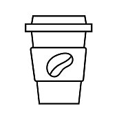Coffee cup. Energy drink. Morning routine. Black doodle vector illustration, sticker, icon. Line art. Isolated on white background.