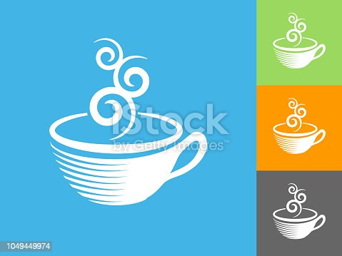 Coffee Cup  Flat Icon on Blue Background. The icon is depicted on Blue Background. There are three more background color variations included in this file. The icon is rendered in white color and the background is blue.