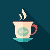 Coffee cup flat square icon with long shadows.
