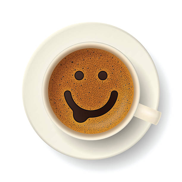 Coffee cup for good mood Coffee cup with funny smiling face on frothy surface. Good mood and vivacity for active day coffee break stock illustrations