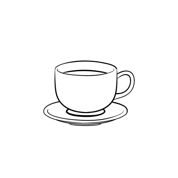 coffee cup hand drawn sketch icon - stacked tea cups stock illustrations, clip art, cartoons, & icons
