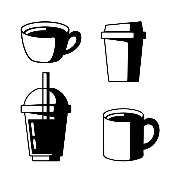 Coffee Cup Icon Black vector art illustration