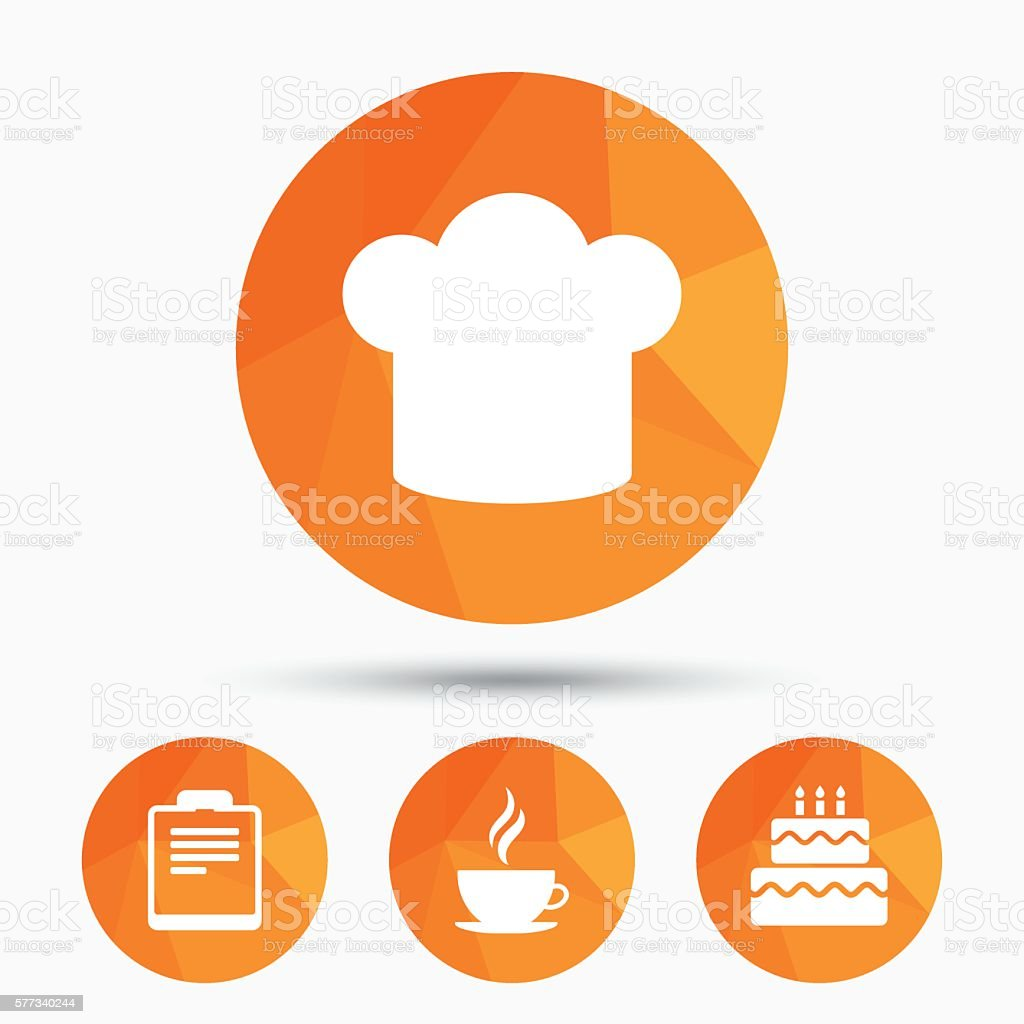 Kaffeetassesymbol Chef Hutsymbol Geburtstag Kuchen Stock Vektor Art