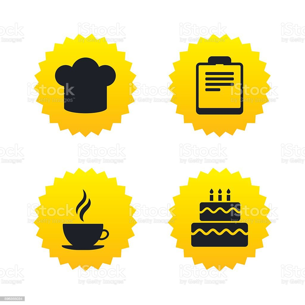 Coffee cup icon. Chef hat symbol. Birthday cake. royalty-free coffee cup icon chef hat symbol birthday cake stock vector art & more images of badge