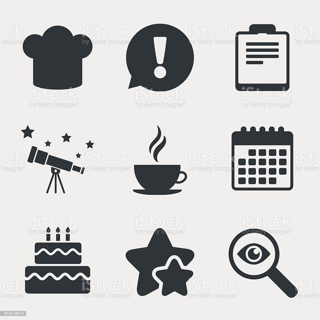 Coffee Cup Icon Chef Hat Symbol Birthday Cake Stock Vector Art