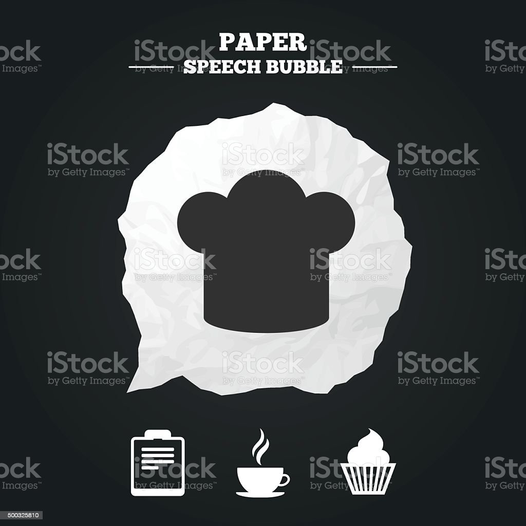Coffee Cup Icon Chef Hat Symbol Muffin Cupcake Stock Vector Art