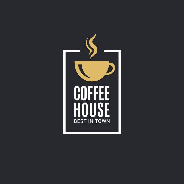 bildbanksillustrationer, clip art samt tecknat material och ikoner med kaffekopp-ikonen. kaffehus etikett på svart bakgrund - kaffekopp