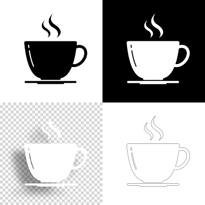 Coffee cup. Icon for design. Blank, white and black backgrounds - Line icon
