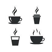 Coffee cup icon. Hot drinks glasses symbols