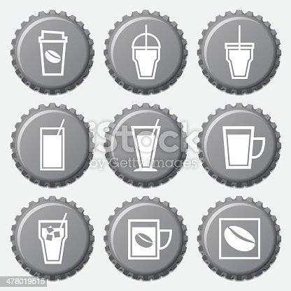 コーヒーカップのアイコンをボトルキャップのセット のイラスト素材