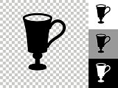 Coffee Cup Icon on Checkerboard Transparent Background. This 100% royalty free vector illustration is featuring the icon on a checkerboard pattern transparent background. There are 3 additional color variations on the right..