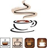 Illustrative and symbolic icons of a coffee cup.