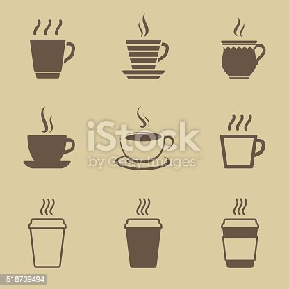 Coffee or tea cup icon set
