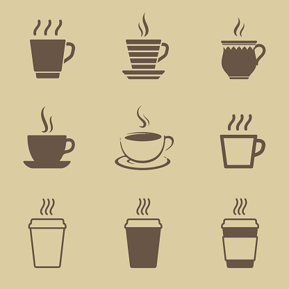Coffee cup icon set clipart