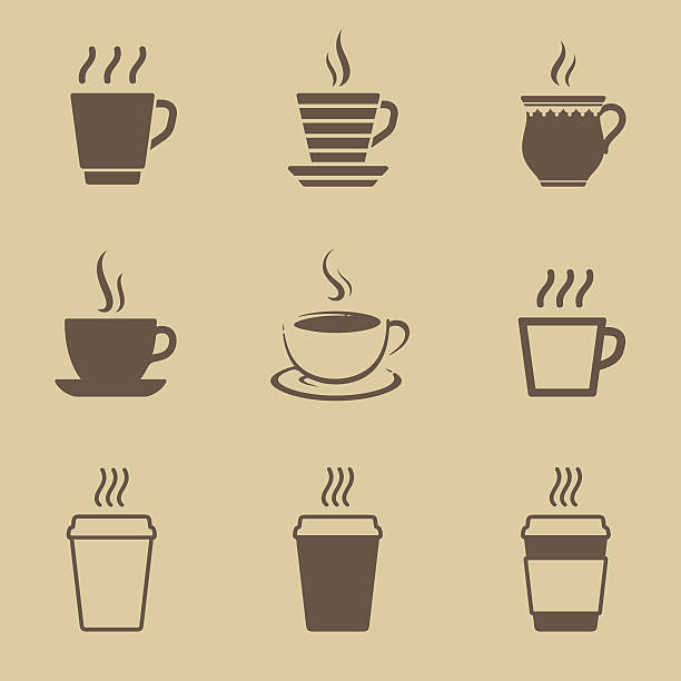 coffee cup icon set - coffee stock illustrations, clip art, cartoons, & icons