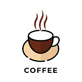 Coffee cup icon vector design illustration. Cup of Coffee icon vector isolated on white background. Simple Coffee Cup design for Logo, web icon, sign and symbol vector illustration template.
