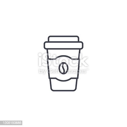 Coffee cup icon, vector line simple illustration.