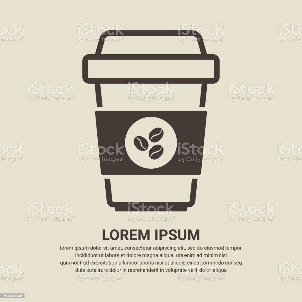 Coffee cup icon with coffee beans logo on brown background, Flat design style vector art illustration