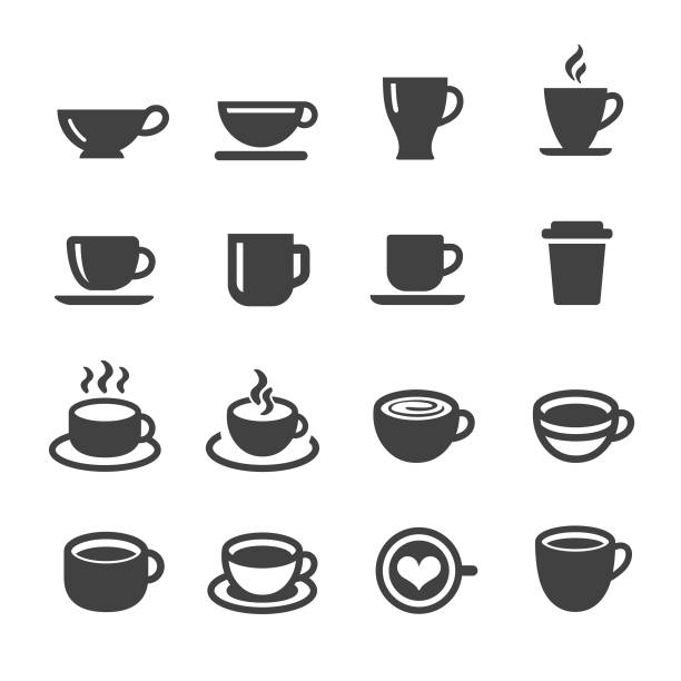 kaffeetasse icons - acme serie - coffee stock-grafiken, -clipart, -cartoons und -symbole