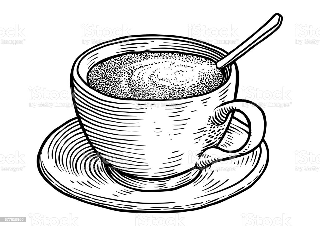 coffee cup illustration drawing engraving ink line art