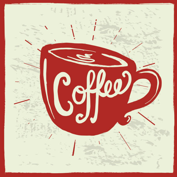 coffee cup label hand lettering design - coffee cup stock illustrations, clip art, cartoons, & icons