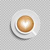 Coffee cup. Latte art heart shape. Vector illustration. Isolated. Top view