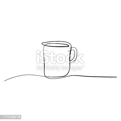 Coffee cup line art drawing