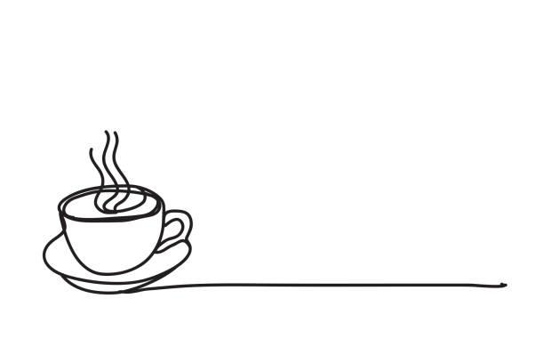 bildbanksillustrationer, clip art samt tecknat material och ikoner med kaffekopp, linje ritning stil, vektor design - kaffekopp