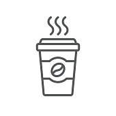 Coffee cup line icon. Minimalist black icon isolated on white background. Coffee cup simple silhouette. Web site page and mobile app design vector element.