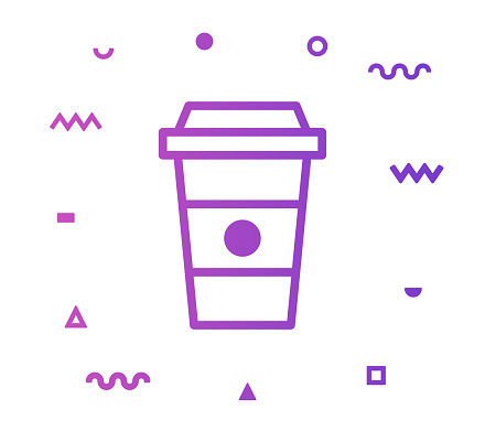Coffee Cup Line Style Icon Design