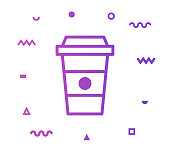 Coffee cup outline style icon design with decorations and gradient color. Line vector icon illustration for modern infographics, mobile designs and web banners.