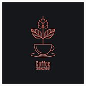 Coffee cup logo. Coffee branch concept on black background 8 eps