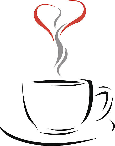 Best Red Coffee Cup Heart Shaped Silhouette Illustrations ...