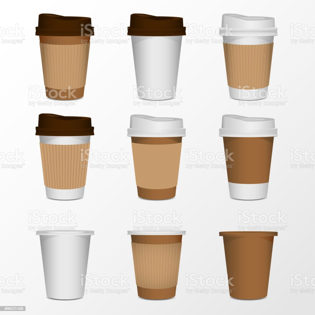 coffee cup product mock up, isolate on white vector art illustration