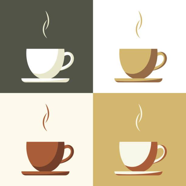 bildbanksillustrationer, clip art samt tecknat material och ikoner med coffee cup set  icon - kaffekopp